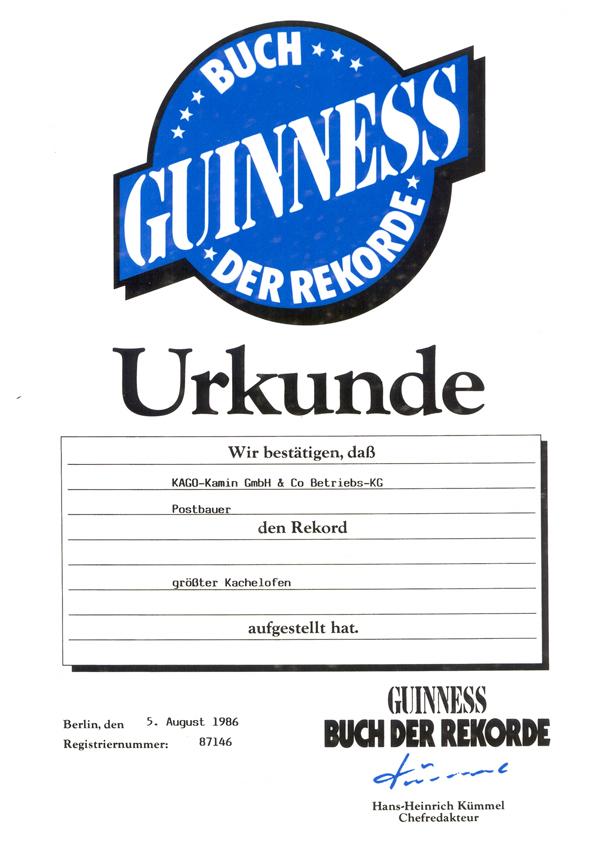 Guinnes Buch Urkunde Größter Kachelofen der Welt